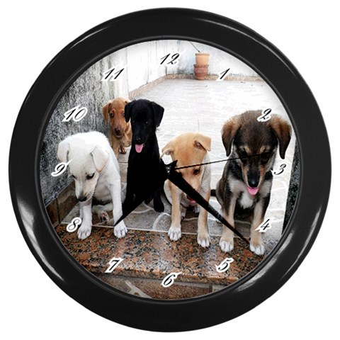 Wall Clock:puppy  By Pamela Sue Goforth   Wall Clock (black)   Frnbfzut7rl8   Www Artscow Com Front