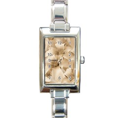 Elegant Floral Pattern In Light Beige Tones Rectangular Italian Charm Watch by dflcprints