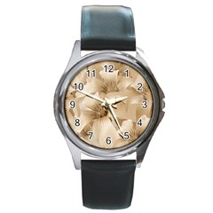 Elegant Floral Pattern In Light Beige Tones Round Leather Watch (silver Rim) by dflcprints