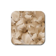 Elegant Floral Pattern In Light Beige Tones Drink Coasters 4 Pack (square) by dflcprints