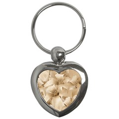 Elegant Floral Pattern In Light Beige Tones Key Chain (heart) by dflcprints