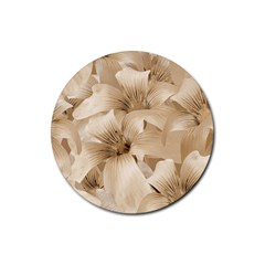 Elegant Floral Pattern In Light Beige Tones Drink Coasters 4 Pack (round) by dflcprints