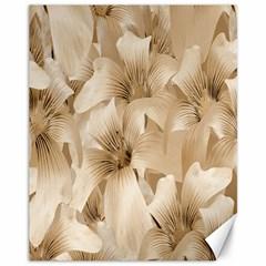 Elegant Floral Pattern In Light Beige Tones Canvas 11  X 14  (unframed) by dflcprints