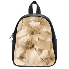 Elegant Floral Pattern In Light Beige Tones School Bag (small) by dflcprints