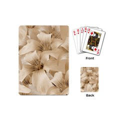 Elegant Floral Pattern In Light Beige Tones Playing Cards (mini) by dflcprints