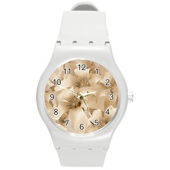 Elegant Floral Pattern In Light Beige Tones Plastic Sport Watch (medium) by dflcprints