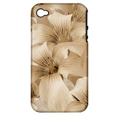 Elegant Floral Pattern In Light Beige Tones Apple Iphone 4/4s Hardshell Case (pc+silicone) by dflcprints