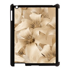 Elegant Floral Pattern In Light Beige Tones Apple Ipad 3/4 Case (black)