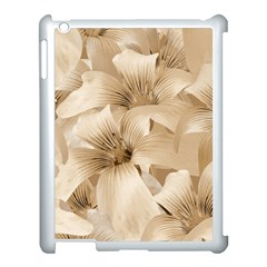 Elegant Floral Pattern In Light Beige Tones Apple Ipad 3/4 Case (white) by dflcprints