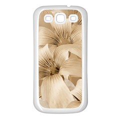 Elegant Floral Pattern In Light Beige Tones Samsung Galaxy S3 Back Case (white) by dflcprints