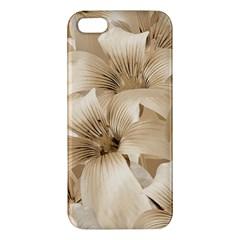Elegant Floral Pattern In Light Beige Tones Iphone 5s Premium Hardshell Case by dflcprints