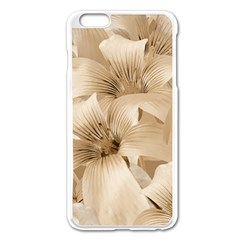 Elegant Floral Pattern In Light Beige Tones Apple Iphone 6 Plus Enamel White Case by dflcprints
