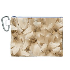 Elegant Floral Pattern In Light Beige Tones Canvas Cosmetic Bag (xl) by dflcprints