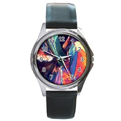 Fractal 1 Round Metal Watch from ArtsNow.com Front