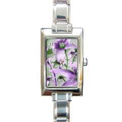 Lilies Collage Art In Green And Violet Colors Rectangular Italian Charm Watch by dflcprints