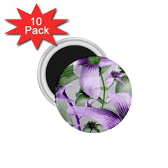 Lilies Collage Art In Green And Violet Colors 1 75  Button Magnet (10 Pack) by dflcprints