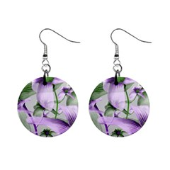 Lilies Collage Art In Green And Violet Colors Mini Button Earrings by dflcprints