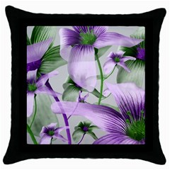 Lilies Collage Art In Green And Violet Colors Black Throw Pillow Case by dflcprints