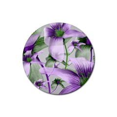 Lilies Collage Art In Green And Violet Colors Drink Coaster (round) by dflcprints