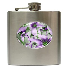 Lilies Collage Art In Green And Violet Colors Hip Flask by dflcprints