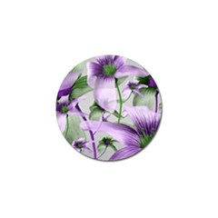 Lilies Collage Art In Green And Violet Colors Golf Ball Marker by dflcprints