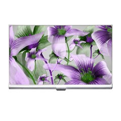 Lilies Collage Art In Green And Violet Colors Business Card Holder by dflcprints