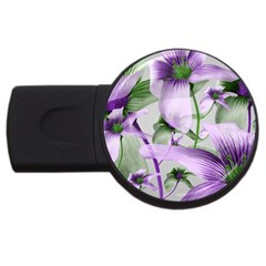 Lilies Collage Art In Green And Violet Colors 2gb Usb Flash Drive (round) by dflcprints