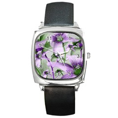 Lilies Collage Art In Green And Violet Colors Square Leather Watch by dflcprints