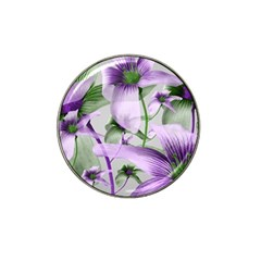 Lilies Collage Art In Green And Violet Colors Golf Ball Marker (for Hat Clip) by dflcprints