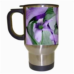 Lilies Collage Art In Green And Violet Colors Travel Mug (white) by dflcprints
