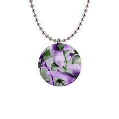 Lilies Collage Art In Green And Violet Colors Button Necklace by dflcprints