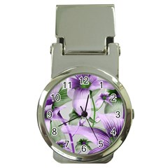 Lilies Collage Art In Green And Violet Colors Money Clip With Watch by dflcprints