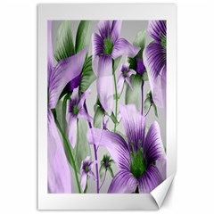 Lilies Collage Art In Green And Violet Colors Canvas 24  X 36  (unframed) by dflcprints