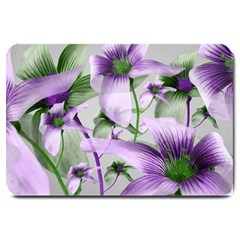 Lilies Collage Art In Green And Violet Colors Large Door Mat by dflcprints