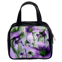 Lilies Collage Art In Green And Violet Colors Classic Handbag (two Sides) by dflcprints