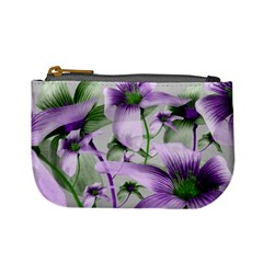 Lilies Collage Art In Green And Violet Colors Coin Change Purse by dflcprints