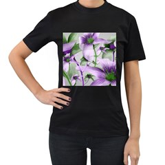 Lilies Collage Art In Green And Violet Colors Women s T Shirt (black) by dflcprints