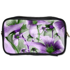 Lilies Collage Art In Green And Violet Colors Travel Toiletry Bag (two Sides) by dflcprints