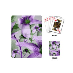 Lilies Collage Art In Green And Violet Colors Playing Cards (mini) by dflcprints