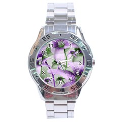 Lilies Collage Art In Green And Violet Colors Stainless Steel Watch by dflcprints