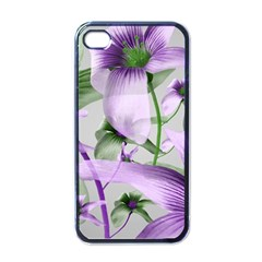 Lilies Collage Art In Green And Violet Colors Apple Iphone 4 Case (black) by dflcprints