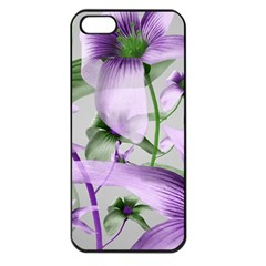 Lilies Collage Art In Green And Violet Colors Apple Iphone 5 Seamless Case (black) by dflcprints