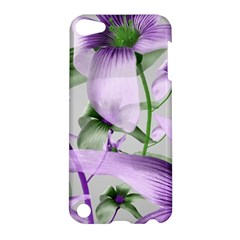 Lilies Collage Art In Green And Violet Colors Apple Ipod Touch 5 Hardshell Case by dflcprints