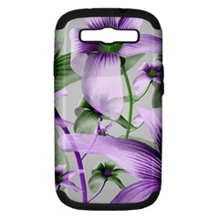 Lilies Collage Art In Green And Violet Colors Samsung Galaxy S Iii Hardshell Case (pc+silicone) by dflcprints