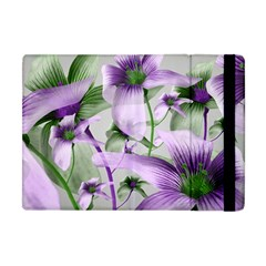 Lilies Collage Art In Green And Violet Colors Apple Ipad Mini Flip Case by dflcprints