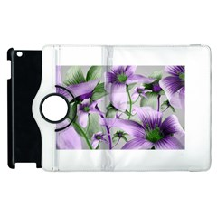 Lilies Collage Art In Green And Violet Colors Apple Ipad 2 Flip 360 Case by dflcprints