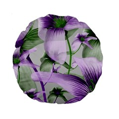 Lilies Collage Art In Green And Violet Colors 15  Premium Round Cushion  by dflcprints