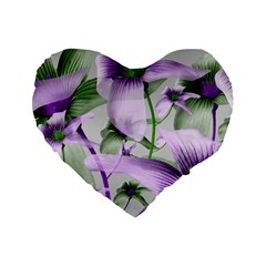 Lilies Collage Art In Green And Violet Colors 16  Premium Heart Shape Cushion  by dflcprints