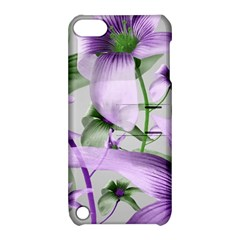 Lilies Collage Art In Green And Violet Colors Apple Ipod Touch 5 Hardshell Case With Stand by dflcprints