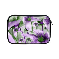 Lilies Collage Art In Green And Violet Colors Apple Ipad Mini Zippered Sleeve by dflcprints